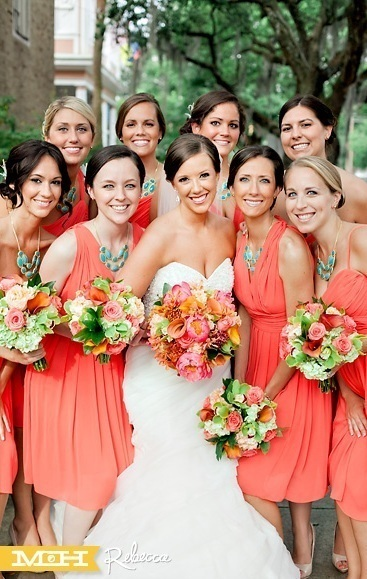 Coral and Teal Bridesmaids Style