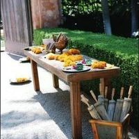 Outdoor Wooden Welcome Table