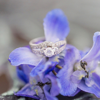 Round Engagement Ring with Swirl Band