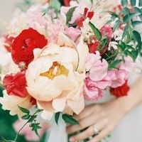Peach, Red, and Pink Bouquet