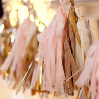 Blush and Tan Tissue Tassels