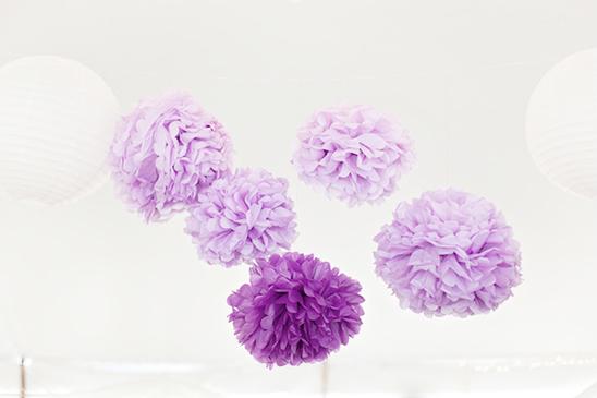 Purple Crepe Paper Poms