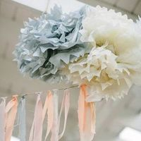 Gray and White Tissue Poms