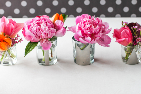 Diy mini monogrammed mirrored vases project wedding