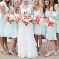 Short Mint Bridesmaid Attire