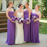 Purple Floor-Length Bridesmaid Dresses