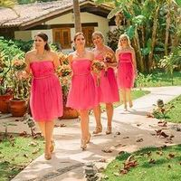 Pink Strapless Bridesmaid Dreses