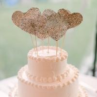 Glitter Heart Cake Toppers
