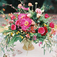 Dark Pink and Green Centerpiece
