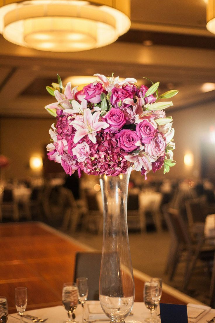 Tall Dark Pink Centerpiece