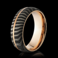 Damascus Steel & Rose Gold Ring by Lashbrook Designs