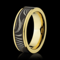 Damascus Steel & Yellow Gold Ring by Lashbrook Designs