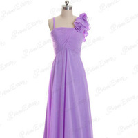 Asymmetric Straps Ruched Corset Empire Waist African Violet Chiffon Floor-length Bridesmaid Dress