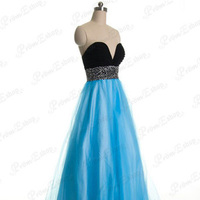 Sexy Low Sweetheart with Ruffles Beadworks Empire Waist Blue Floor-length Plus Size Ball Gown Dress