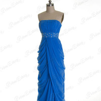 Ruched Strapless Empire Waist with Diamonds and Oval Beads Dreaped Full-length Prom Dress with Front Slit