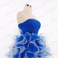 Ruffles Strapless Bodice with Hand-made Flower Layered Ball Gown Dress Decorated with Sparkling Paillette and Rhinestone