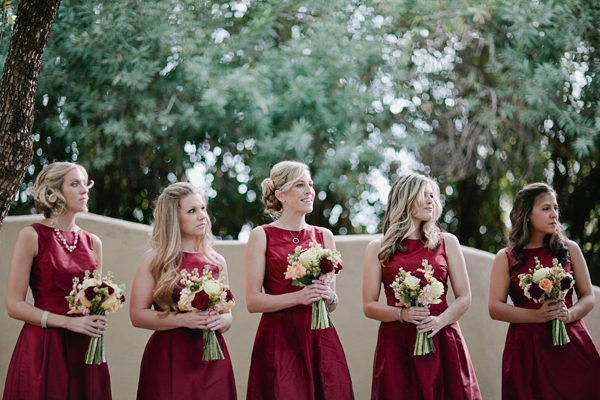 Bridesmaids, Real Weddings, red, Desert, Crimson, rustic romance, arizona real weddings, arizona weddings