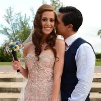Real Weddings, Destination, Glamorous, Formal, Dramatic, Brooch bouquet, Pink wedding dress, florida real weddings, florida weddings