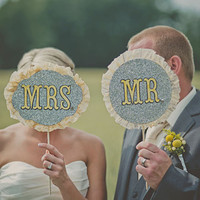 Mr and Mrs Glitter Signs