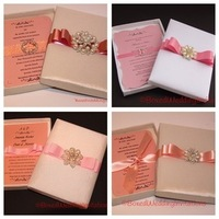 ivory, pink, invitation, Invitations, Brooch, Wedding invitation, Boxed invitation