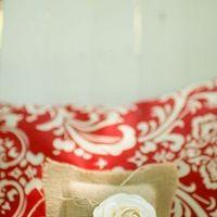 Burlap & Flower Ring Pillow