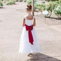 Red and White Flower Girl