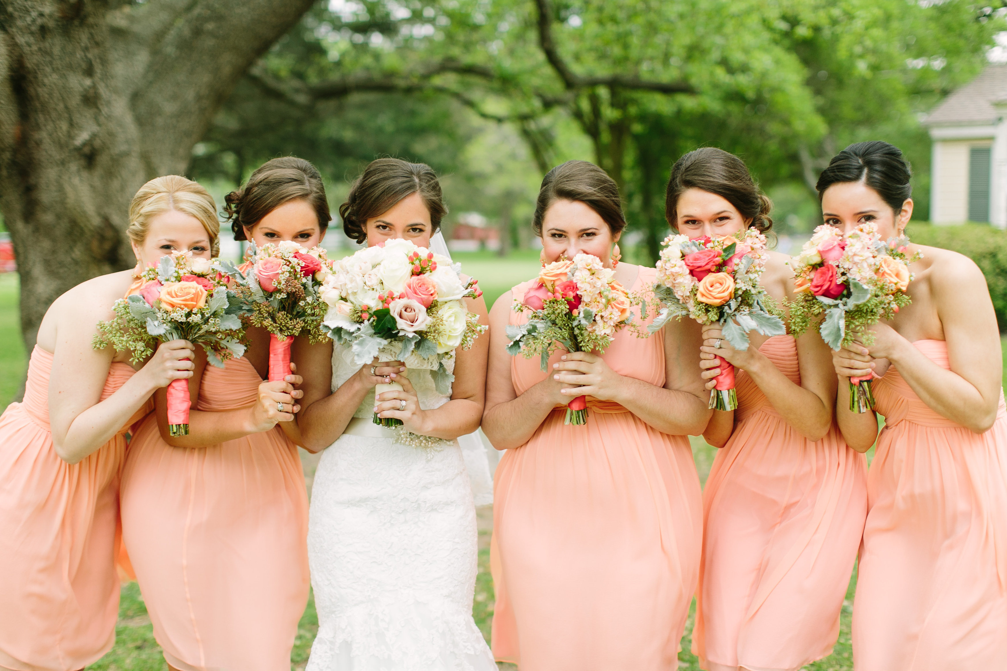 Peachy Pink Bridesmaids