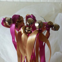 Double Strand Satin Ribbon Wedding Wands with Silver Bells
