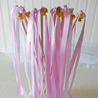 Double Strand Satin Ribbon Wedding Wands with Gold Bells