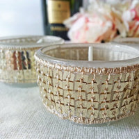 Gold Sequin Tea Light Wedding Candles Bridal Shower Bling Reception Sparkle
