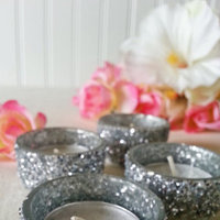 Silver Glitter Tea Light Wedding Candles Bling Bridal Sparkle Candle Holders