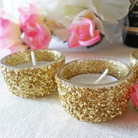 Gold Glitter Tea Light Wedding Candles Bling Bridal Sparkle Candle Holders