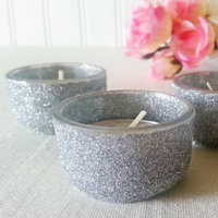 Fine Silver Glitter Tea Light Wedding Candles Bling Bridal Sparkle Candle Holders