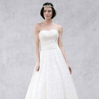 white, Lace, Strapless, Floor, Sleeveless, Sweep, soft white, soft a line