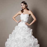 white, ivory, Sweetheart, Floor, Organza, Sleeveless, Ball gown, chapel train, pick up/drama