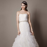 ivory, Strapless, Fit and flare, Tulle, Floor, Slim, Sleeveless, Sweep