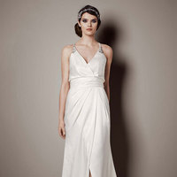 white, ivory, V-neck, Sheath, Satin, Floor, Chapel, Sleeveless