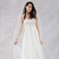 white, ivory, Strapless, Sheath, Sleeveless, crinkle chiffon