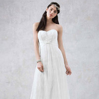 white, Lace, Strapless, Sheath, Sleeveless, soft white