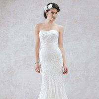 white, Lace, Strapless, Floor, Slim, Sleeveless, Sweep, soft white, soft slim