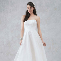 white, ivory, Strapless, A-line, Organza, Tea-length, Dotted, Sleeveless