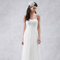 white, ivory, Sweetheart, Tulle, Floor, Sleeveless, soft a line