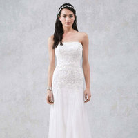 white, ivory, Strapless, Tulle, Floor, Slim, Sleeveless, Sweep