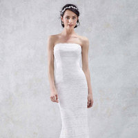 white, ivory, Lace, Strapless, Trumpet, Floor, Slim, Sleeveless, Sweep