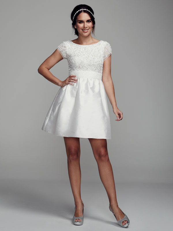 white, A-line, Short, Scoop, Cap, Taffeta