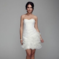 ivory, Lace, Short, Sheath, Feather, Sleeveless, swetheart