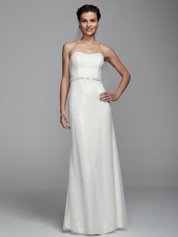 ivory, Strapless, Sheath, Tulle, Floor, Sequin, Sleeveless