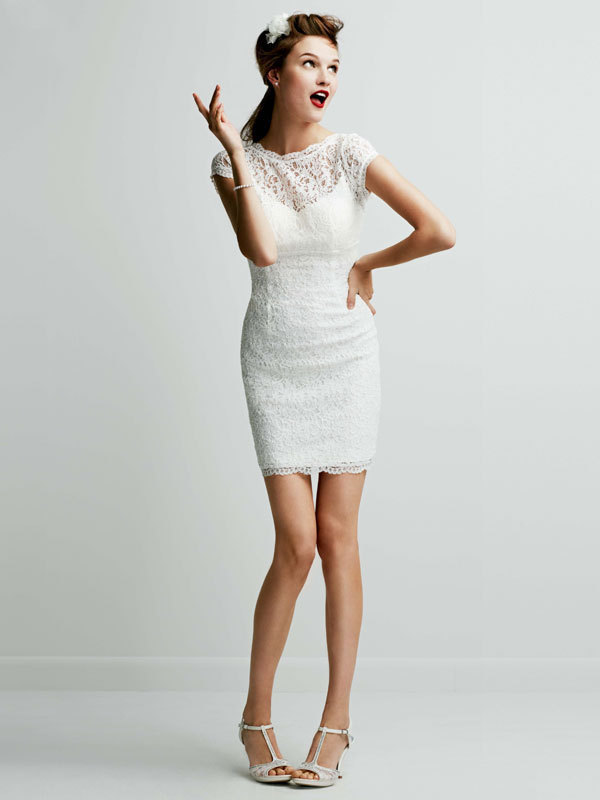 ivory, Lace, Short, Sheath, Scoop, Cap