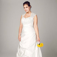 white, ivory, Lace, Sweetheart, A-line, Satin, Floor, Cap