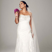white, ivory, Lace, Strapless, Fit and flare, Floor, Sleeveless